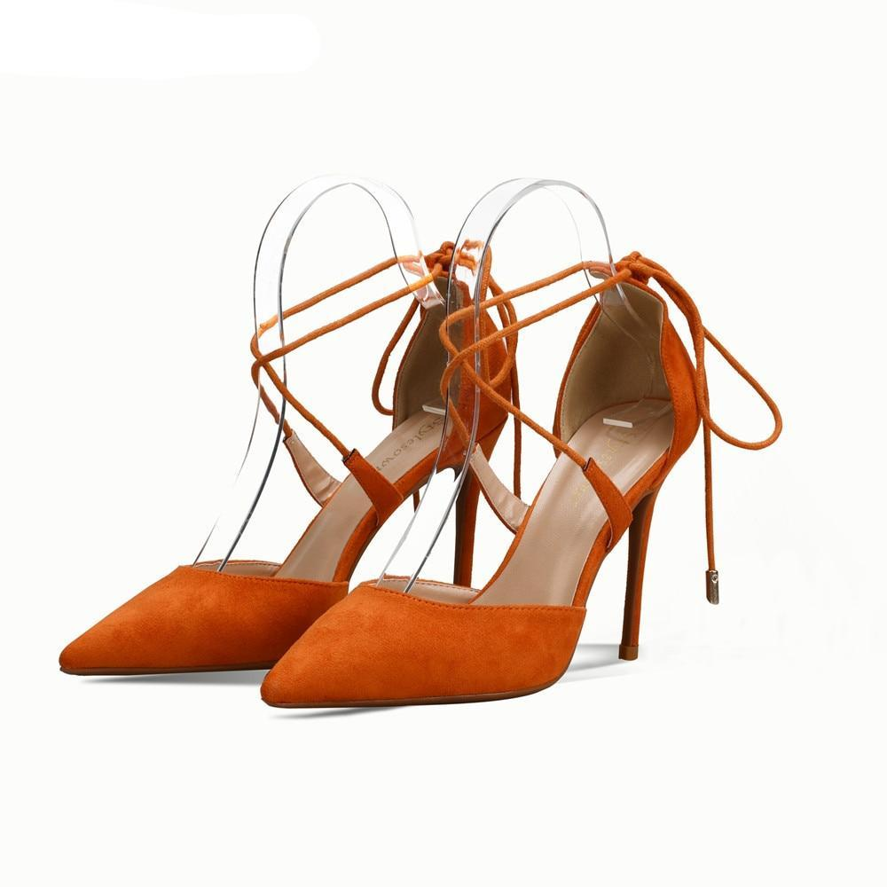 Gladiator Lace Up Faux Suede Leather Orange High Heels