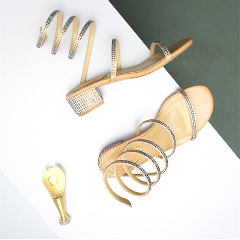 Fashion Sexy Rhinestone Mid Heel Tied Party Sandals