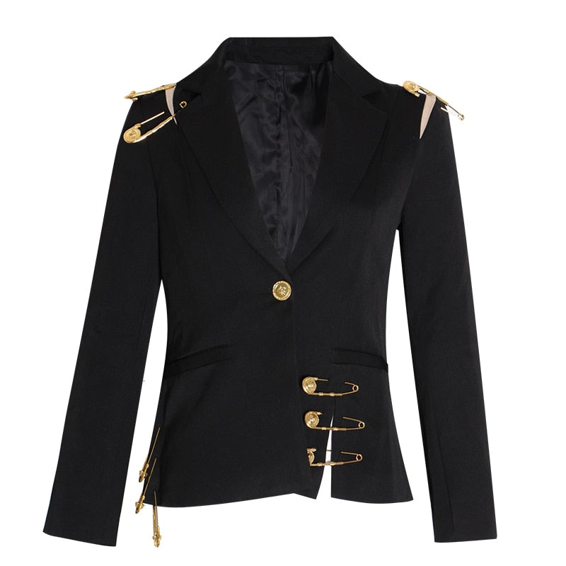 Hollow Out Patchwork Lace Up Elegant Blazer