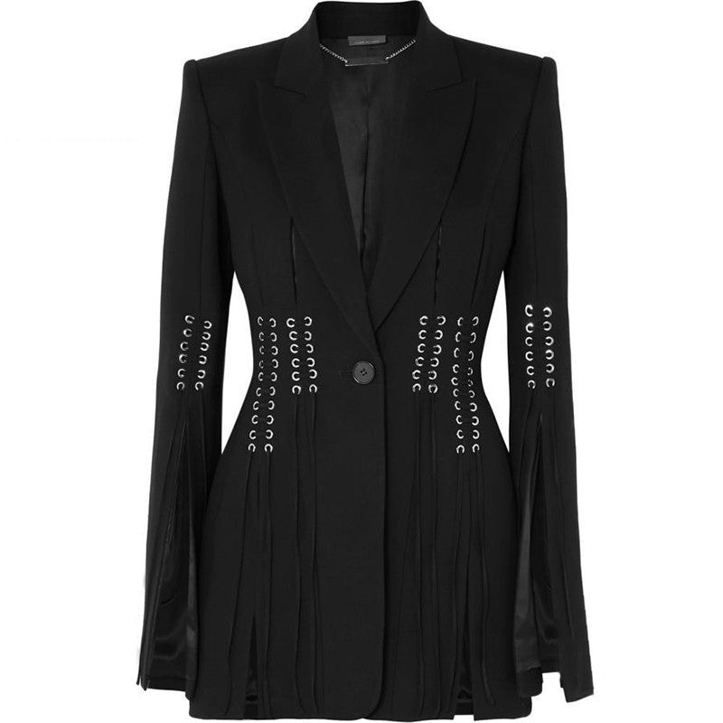 Casual Long Sleeve Button Bandage Split Slim Black Coat