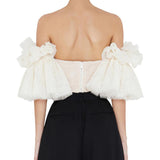 Strapless  Embroidery Ruffles Flare Sleeve Sexy Short Top