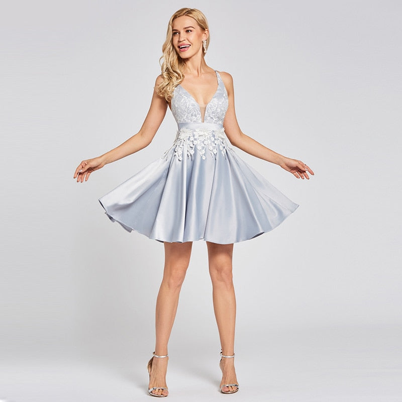 New Silver Cocktail Dress Above Knee