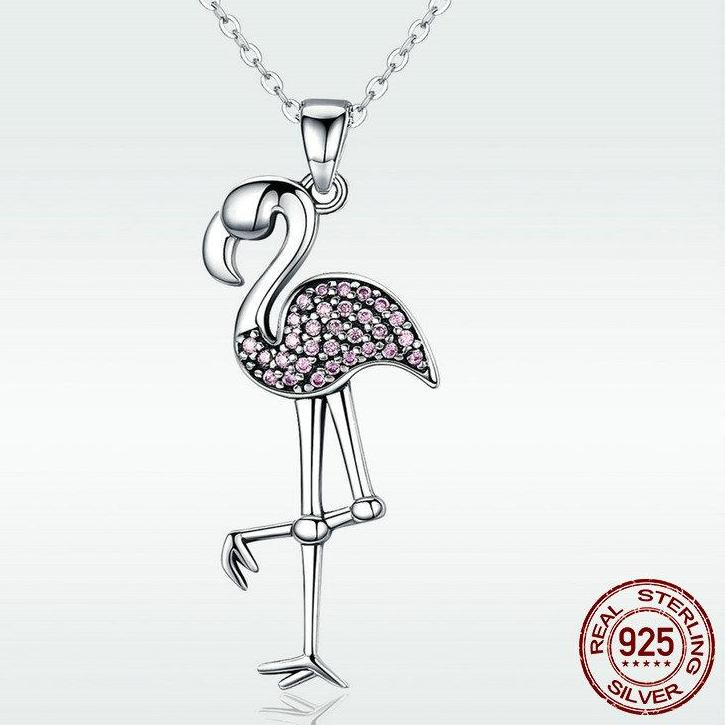 High Quality Real 925 Sterling Silver Sylphlike Flamingo Pendant Necklace