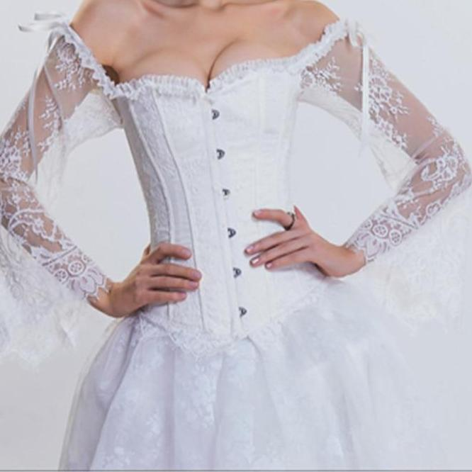 Sexy Long Sleeve Lace Corselet Party Bustier Plus Size