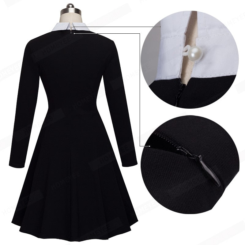 Elegant Formal Work Office Business Pleated A-line Dress