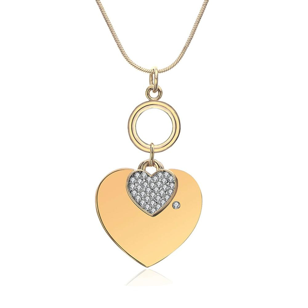 Trendy Double Heart Pendant Necklace Rhinestone Crystal - Antiallergy