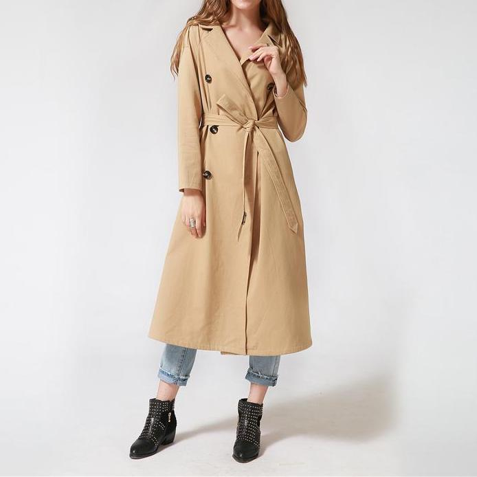Double Button Long Classic Windbreaker Trench Coat