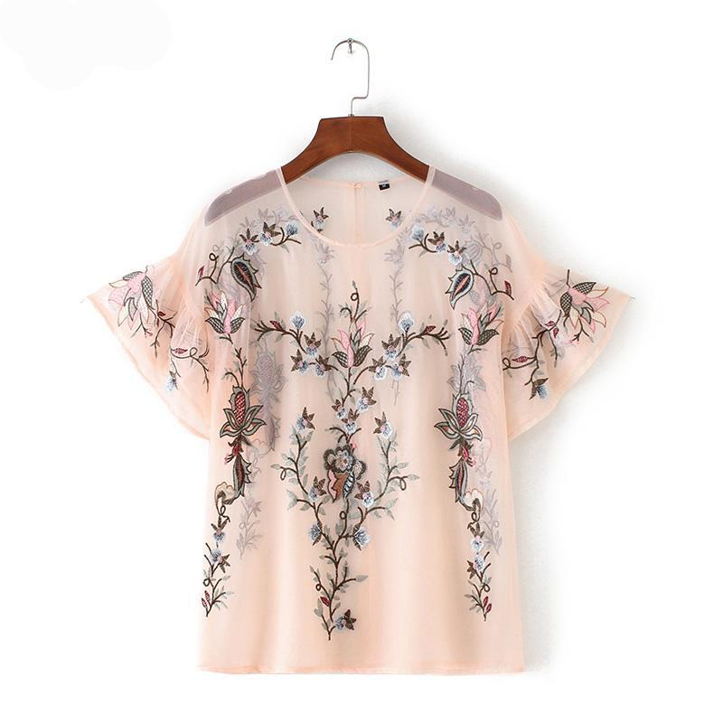 Sexy flower embroidery ruffles mesh shirts see through transparent