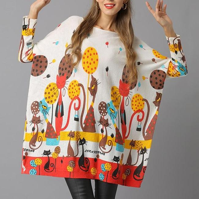 Casual Regular Cat Print Sweater Dress