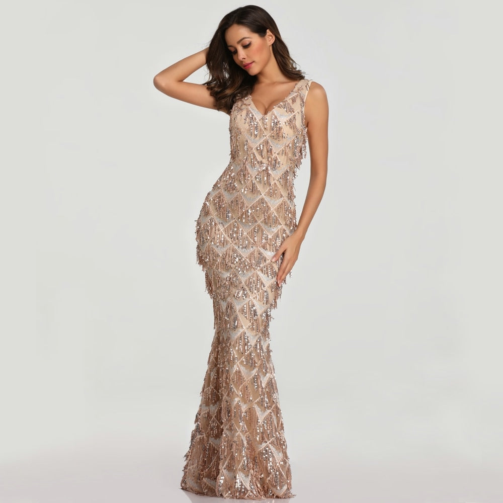 Sexy Mermaid Design V-neck Tassel Sequin Evening Dress