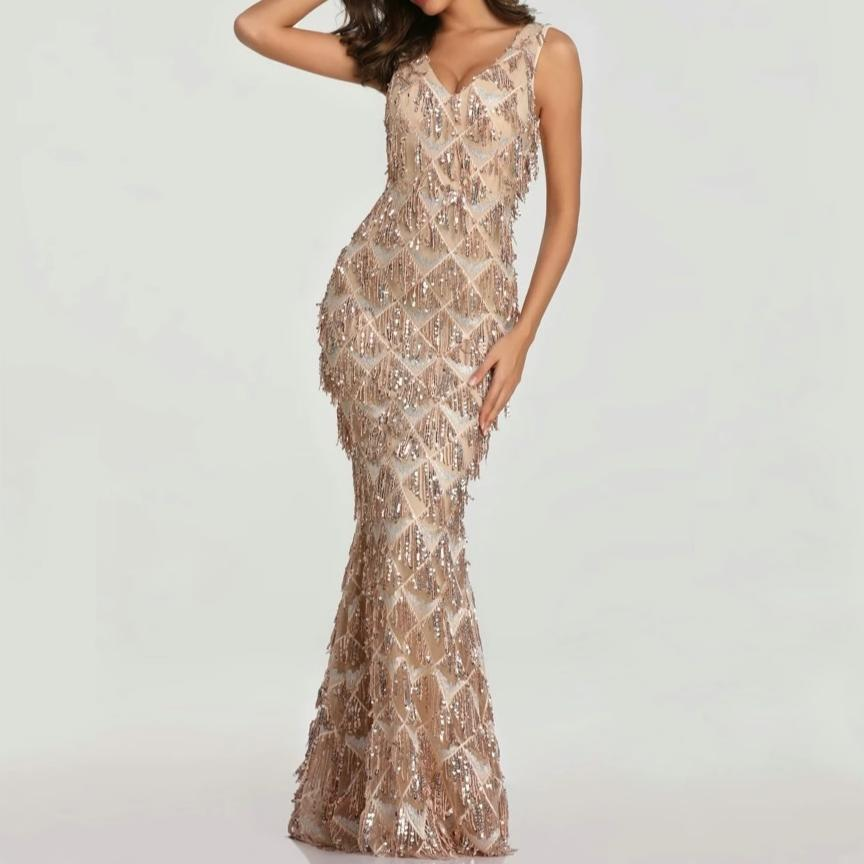 70% OFF Sexy Mermaid Design V-neck Tassel Sequin Evening Dress