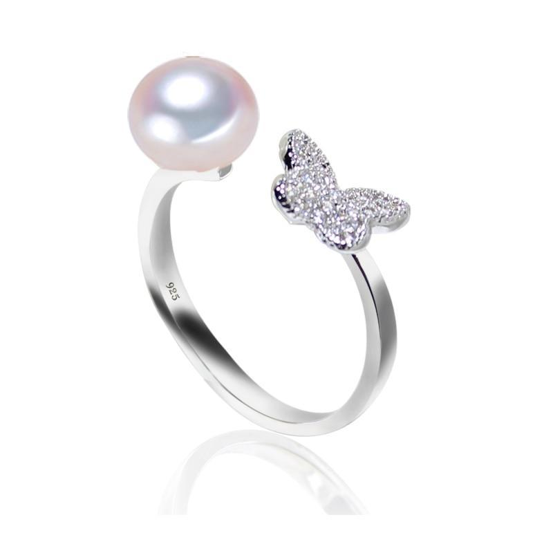 New Fashion Pearl 925 Sterling Silver Butterfly Zircon Stella Ring