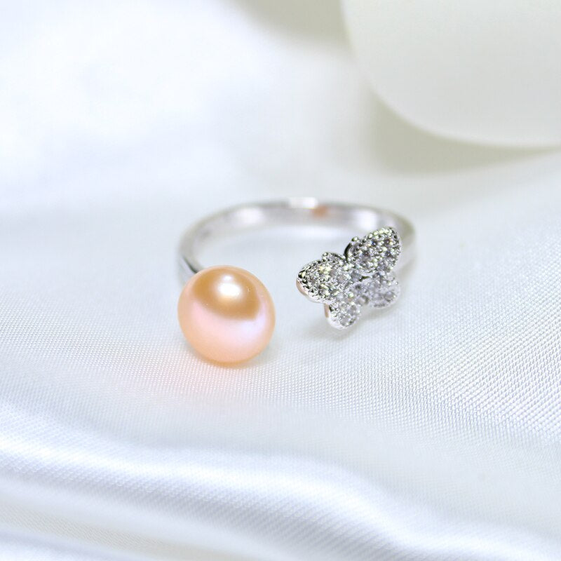 50% OFF Pearl 925 Sterling Silver Butterfly Zircon Stella Ring