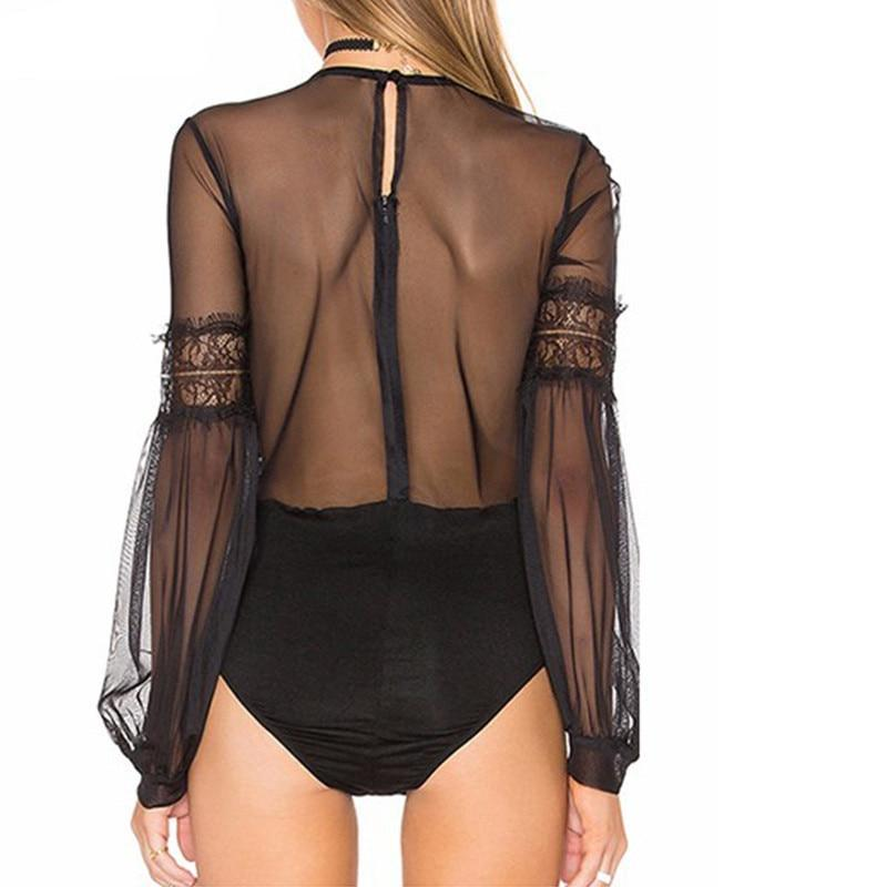 Plus Size - Elegant Vintage Lantern Sleeve Hollow Out Lace Bodysuit
