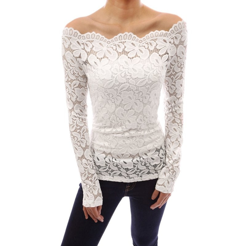 Floral Lace Off Shoulder Long Sleeve Casual Blouse Plus Size