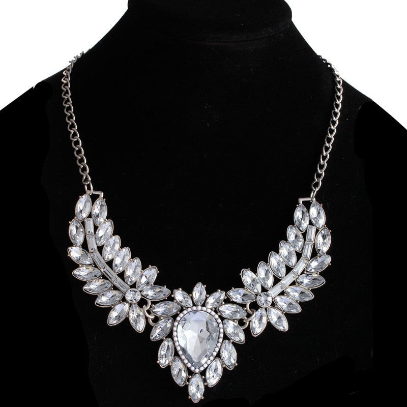 Fashion Statement Silver Plated With Crystals Pendant Necklace Choker