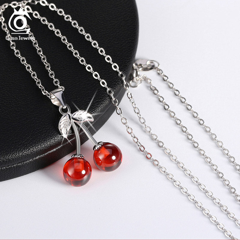 925 Sterling Silver Red Natural Stone Cherry Pendant Necklace
