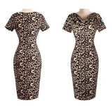 Vintage Leopard Sexy Office Dress