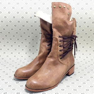 Cross-Tied Leather Ankle Boots