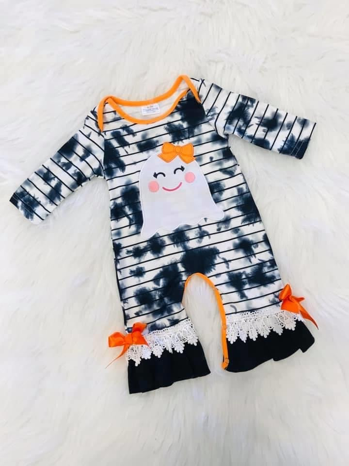 Girls Ghost Ruffle Romper