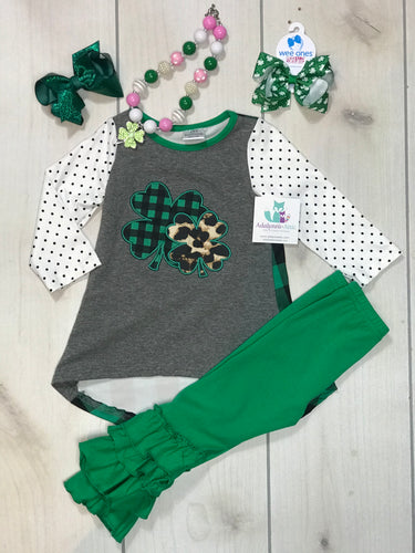 Girls Cheetah Clover Ruffle Set