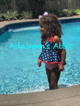 Girls Red White and Blue High Waisted Swimsuit