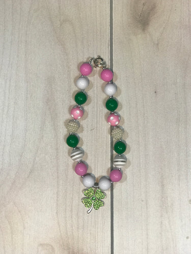 Girls Pink and Green St Patty's Necklace - Adalynn's Attic