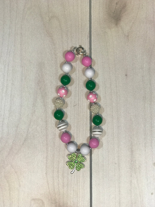 St. Patty's Green and Pink Necklace
