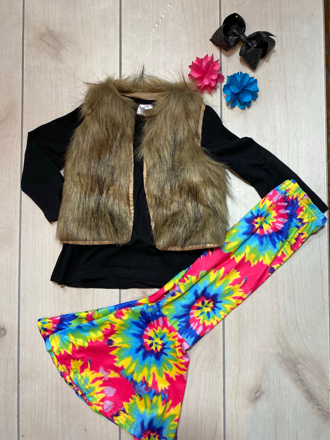 Girls Tie Dye Bell Shirt and Vest Set