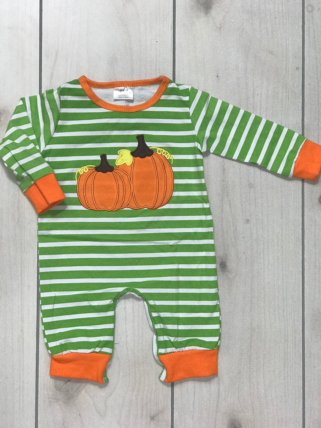 Unisex Green and Orange Pumpkin Romper