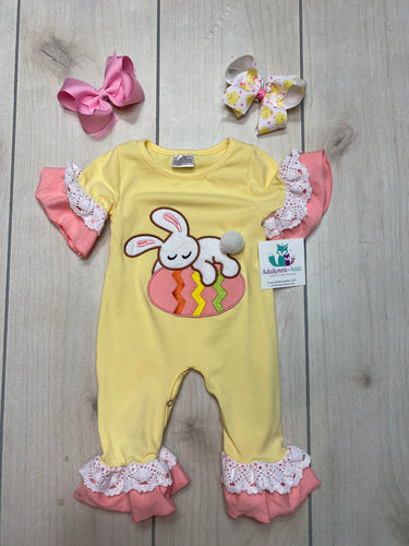 Girls Easter Egg and Bunny Ruffle Romper