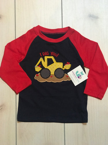 Boys Valentine I Dig You Raglan - Adalynn's Attic
