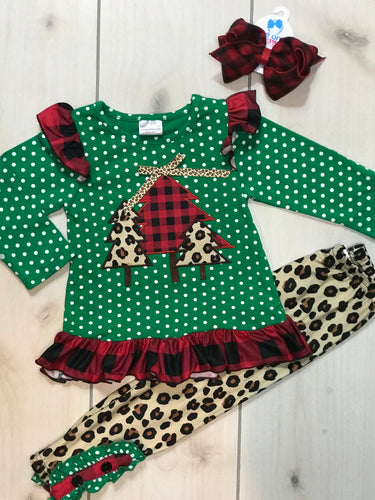 Girls Cheetah and Polka Dot Christmas Set