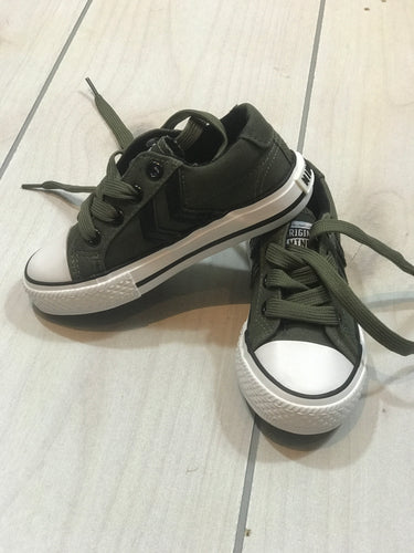 Minoti Boys Military Green Canvas Sneakers