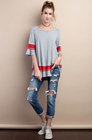 Gray and Red Tunic - Stylishly Stated