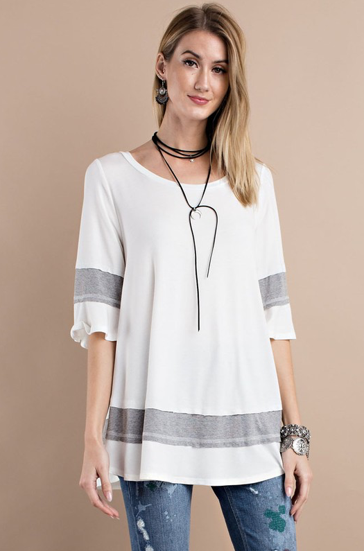Gray and White Tunic - Stylishly Stated