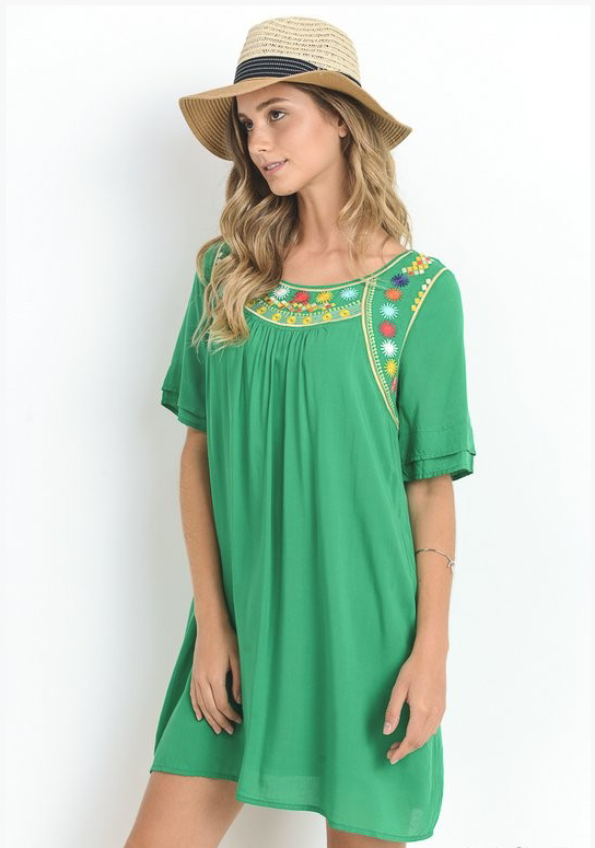 Green Short Sleeve Dress - Stylishly Stated