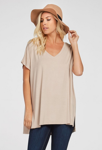 Classic taupe v-neck top