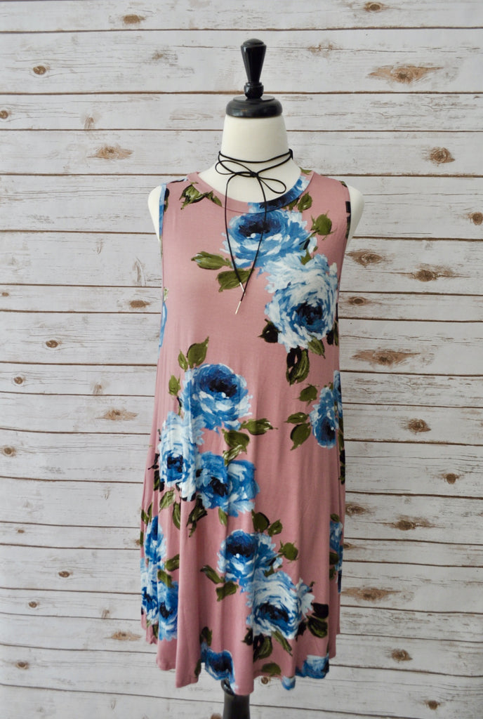 Rose Print Swing Dress- Stylishly Stated