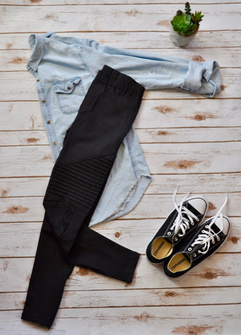 Black Moto Leggings Stylishly-Stated