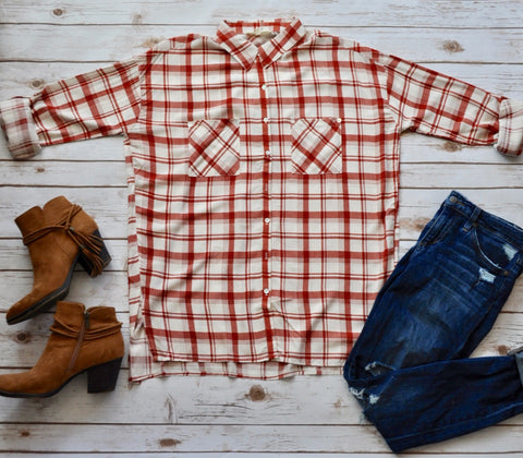 Rust Plaid Button Down Top