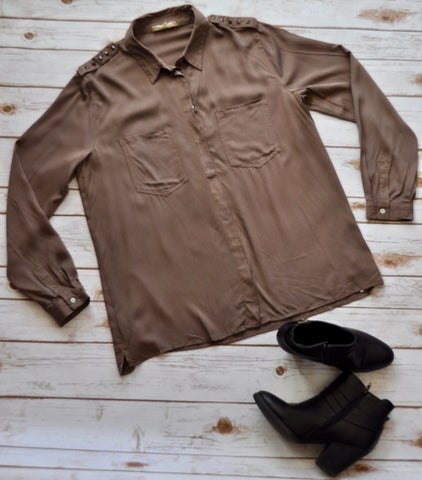Mocha Button Down Top Stylishly-Stated