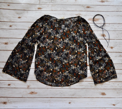 Black Floral Long Sleeve Top Stylishly-Stated
