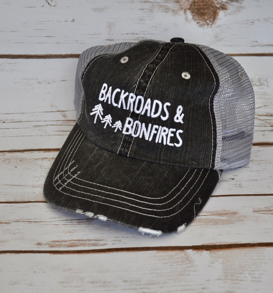 Backroads and Bonfires Trucker Hat Stylishly-Stated
