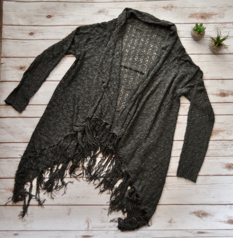Charcoal Crochet Fringe Cardigan Stylishly-Stated