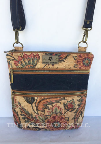 Floral Print and Navy Cork Triple Zip Bag
