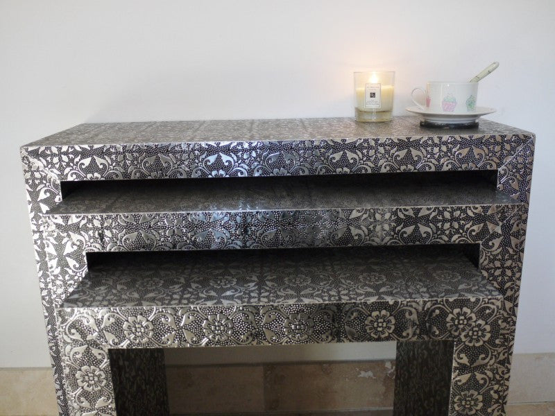 Black Embossed Patterned Metal Nest Of Tables The Yorkshire Furniture Company