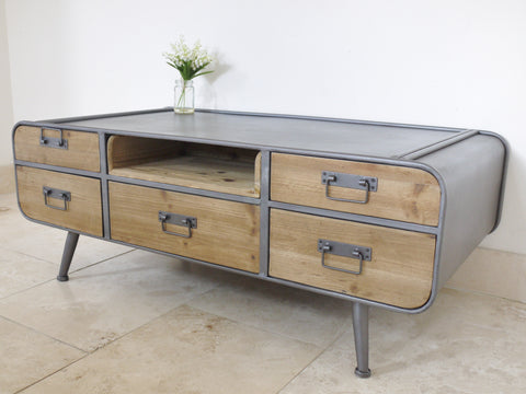 industrial metal furniture. Retro Rustic 4 Leg Industrial Metal Coffee Table - Grey Furniture O