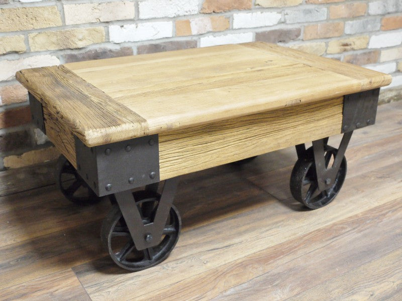 Reclaimed low wooden rustic coffee table on wheels the yorkshire furniture company Low wooden coffee table