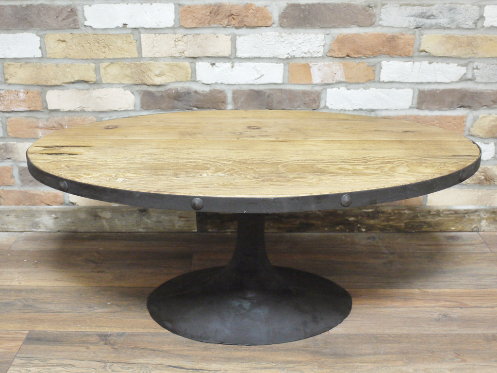 Oval reclaimed wood cast iron coffee table the yorkshire for Cast iron coffee